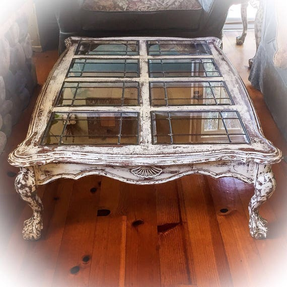 French Country Distressed Coffee Table: 5' Farmhouse Coffee Table Antique White W/ Copper