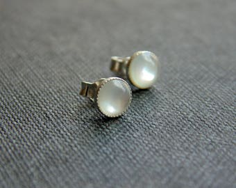 White mother of pearl shell 5mm sterling silver stud earrings