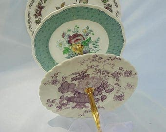 Cake Stand Wedding Bridal 3 Tier Mix Match Transfer Ware Vintage Plates