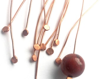 Hammer flattened copper headpins 24 gauge handmade jewelry findings by Meshes