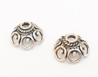 2 Sterling Silver Bead Caps, Bali Sterling Silver, 12mm