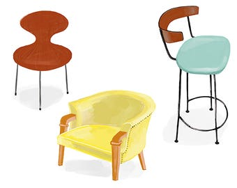 Three Chairs, Matted Print
