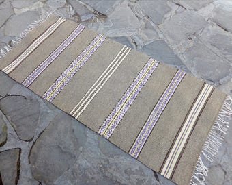Gray handwoven natural wool rug with purple motifs and yellow accents - floor rug runner Scandinavian style