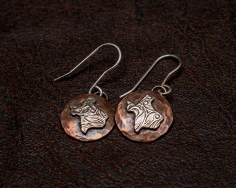 Copper and Sterling silver Texas earrings