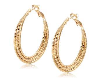 18k solid Yellow Gold Filled Hoop  Earrings