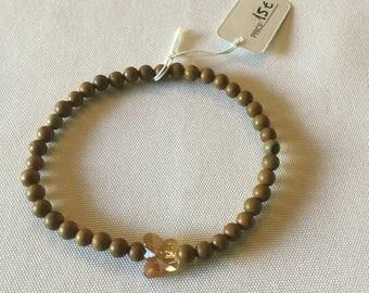 Light brown butterfly natural stone bracelet