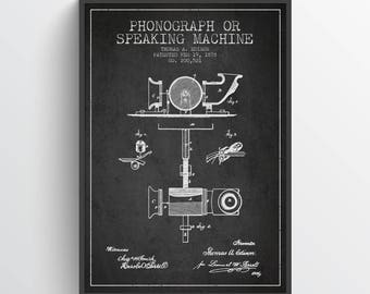 1878 Thomas Edison Phonograph Patent Poster, Patent Art Print, Patent Print, Blueprint, Wall Art, Home Decor, Gift Idea, FITE06P
