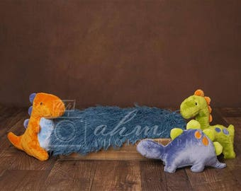 Digital Newborn Backdrop Dinosaurs with Blue Fur Layer. One of a kind prop!