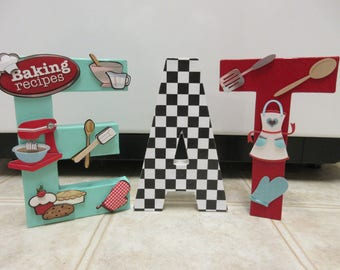Retro Eat Paper Mache Letters-Retro Kitchen Decor-50's Kitchen Decor-50's Diner Decor