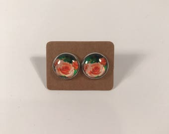 Pink rose glass cabochon stud earrings stainless steel posts