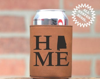 Home State Custom Leather Beer Kozie. Choose Your State. Mix and Match. Leather Can Cozy. Beverage Cooler. Wedding Favor. Personalized Gifts