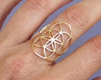 Gold Ring, Seed of Life Ring, Flower of Life Ring, Yellow Gold Ring, Sacred Geometry Ring, Ethnic Ring, Flower Ring, Round Ring, Big Ring