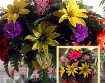 Pink, Purple, Orange & Yellow Cemetery Summer Flowers | Memorial Flowers Decorations | Wreaths on Etsy | Etsy Wreaths