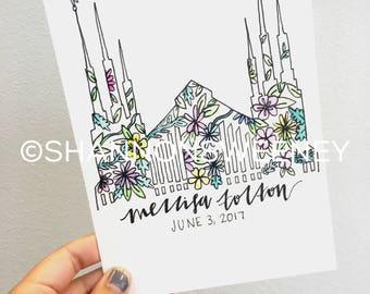 LDS Floral Watercolor Temple+FREE SHIPPING