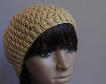 Lacy Knit Slouchy Beanie in Soft Golden Yellow