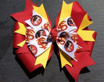 Florida Hair Bow, Florida State Bow, Florida State Seminoles Bow, Football Bow, College Bow