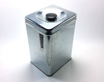 Vintage Chrome Flour Canister | Lincoln Beautyware | Retro Kitchen