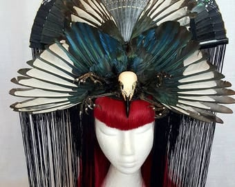 Magpie wings geisha fan crow skull and claws swarovsky  show stopper burlesque fascinator