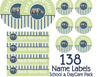 Rhino Kids School Labels Starter Pack - Daycare Waterproof Labels, Kids Name Labels, Dishwasher Safe Labels, Camp Labels