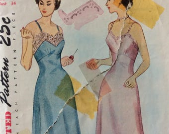 Simplicity 3042 vintage 1940's misses slip w/transfer sewing pattern size 16 bust 34