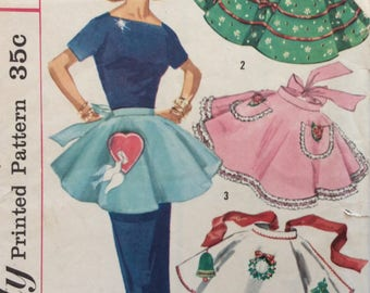 Simplicity 1846 misses aprons   one size vintage 1950's sewing pattern
