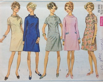 Simplicity 8002 misses half size A-line dress size 20 1/2 bust 43 vintage 1960's sewing pattern