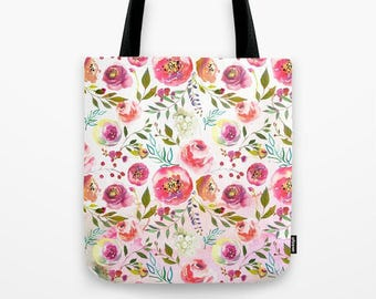 Floral Tote Pink Peony Print Tote Bags Blush Ombre tote Floral Canvas Tote Market Bag Pink Floral Travel bag gifts under 30 gifts for her