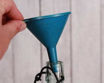 Vintage funnel, Blue shabby old funnel, Rustic vintage garage funnel, Old military funnel, Blue plastic funnel, Farm house country decor