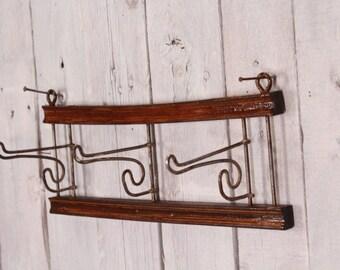 Antique coat rack - Coat hooks - Vintage coat hook - Clothes hanger - Industrial hanger - Wall coat rack - Metal wall hanger Folding hanger