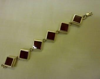 J44 Vintage Sterling Silver with Red Stones Bracelet.