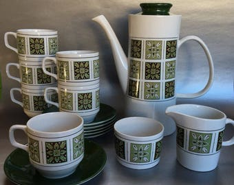 Mid Century Jon Anton English Coffee Set, Pot, Cups and Saucers, Cream and Sugar