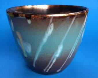 Vintage Drip Glaze West German Pottery Blue Vase Planter