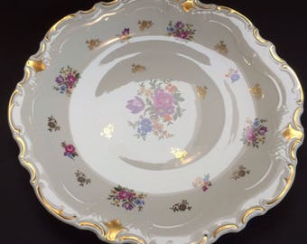 Large Gold Vintage Beauty Reichenbach Fine China Made in GDR Serving Platter German