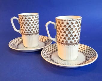 Sharon Ironstone Adams & Sons Pottery  2 Shamrock Espresso Coffee Cups and Saucers