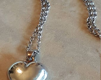 Vintage Sterling Silver 925 Puffy Heart Pendant Necklace Chain