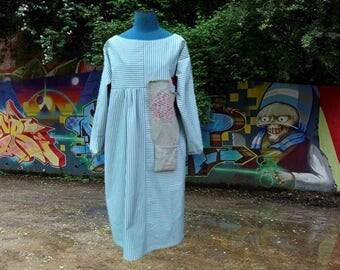 Of Bohemian style heavy cotton ecru blue striped dress size 38/42