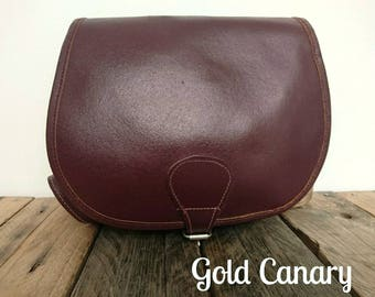 Vintage Burgundy Leather Satchel Cartridge Shoulder Saddle Bag Boho Folk