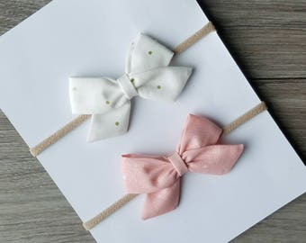 Ready To Ship, Blush with off white polka dots, off white with gold polka dots, sailor bow, newborn/infant size