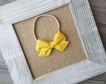 baby headband, yellow sailor bow, sunshine yellow bow, nylon headband, yellow fabric bow, baby bow