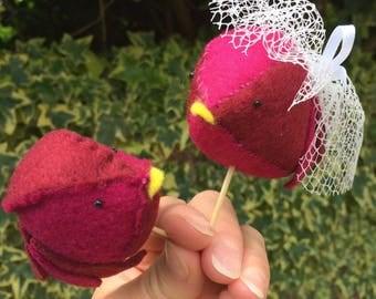 Handmade Felt Lovebird Cake Toppers - Pair of red birds