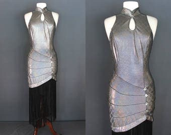 90's Party Dress   90's Op Art Space Age Fringed Body Con Party Dress 90's Club Kid Dress