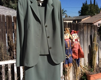 Amanda Smith Skirt Suit - Fully Lined - Size 10 Vintage - Green - 3 Piece - 100% Poly - 90's