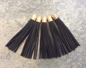 Long black microsuede tassels with gold caps for jewelry making Extra long velvety tassels 3 1/8""