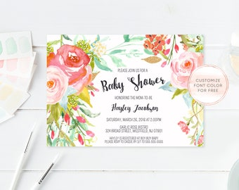 Baby Shower Invitation, Floral Baby Shower Invite, Pretty Baby Shower Invite, Printable Baby Shower Invite, Baby Sprinkle Invitation [390]