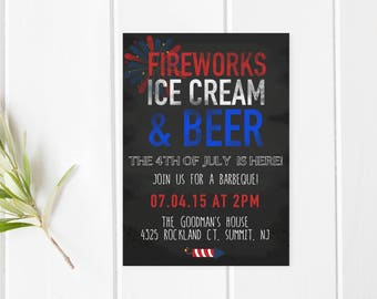 4th Of July BBQ, Fourth Of July Party, Independence Day, BBQ Invitation, Summer Invitation, Summer BBQ Invite, 4th Of July Invitation [228]