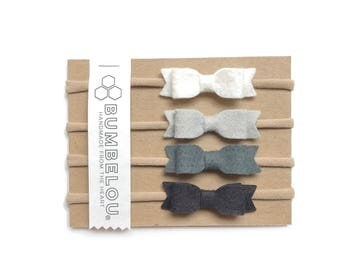 4 mini bows - One Size Fits All Nylon - Classic Neutrals