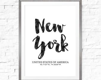 New York City print, Coordinate sign, NYC poster, New York poster, Coordinate gift, New York City art, Custom coordinate, New home sign