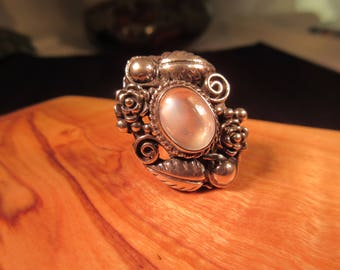 Tribal Sterling Silver Mother of Pearl Ring - 5