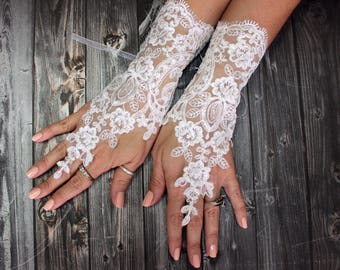 Lace gloves wedding, bridal white gloves fingerless lace gloves, bridal accessories, french lace