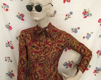 1960s paisley Mod hippie shirt! Size small